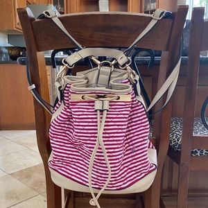Handbags - Red and White Striped Mini Backpack